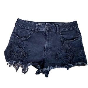 American Eagle Black Hi Rise Shortie Denim Shorts